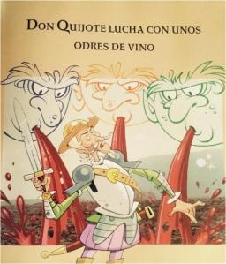Don Quijote lucha con unos odres de vino